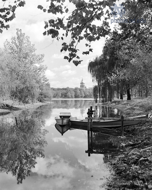 GPHR 45/0032:  Two canoes on St. Mary's Lake, c1950s..Image from the University of Notre Dame Archives.