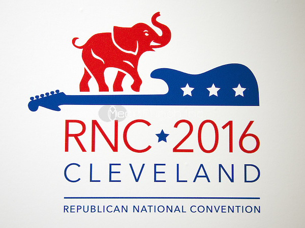 Logo of the 2016 Republican National Convention in Cleveland, Ohio on Friday, July 15, 2016.<br /> Credit: Ron Sachs / CNP/MediaPunch<br /> (RESTRICTION: NO New York or New Jersey Newspapers or newspapers within a 75 mile radius of New York City)