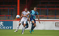 Adam El-Abd of Wycombe Wanderers holds off Cheye Alexander of Aldershot Town during the pre season friendly match between Aldershot Town and Wycombe Wanderers at the EBB Stadium, Aldershot, England on 22 July 2017. Photo by Andy Rowland.