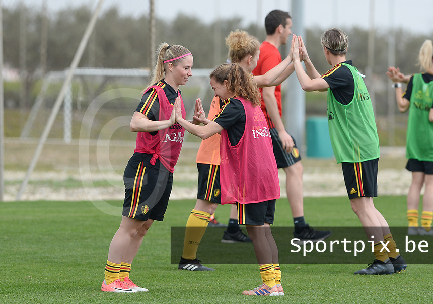 20180306 - LARNACA , CYPRUS :  Belgian Jana Coryn and Davina Philtjens (r) pictured during a Matchday -1 training from The Belgian Red Flames prior to their game against South Africa , on tuesday 6 March 2018 at the Alpha Sports Grounds in Larnaca , Cyprus . This will be the final game for Belgium during the Cyprus Womens Cup for a battle for the 5th place , a prestigious women soccer tournament as a preparation on the World Cup 2019 qualification duels. PHOTO SPORTPIX.BE | DAVID CATRY