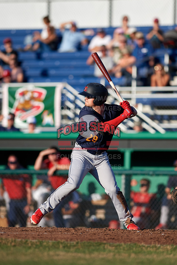 State College Spikes second baseman Nick Dunn (29) at bat during a game against the Batavia Muckdogs on July 7, 2018 at Dwyer Stadium in Batavia, New York.  State College defeated Batavia 7-4.  (Mike Janes/Four Seam Images)
