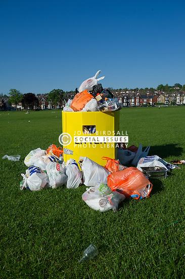 Overflowing litter bin in Endcliffe Park