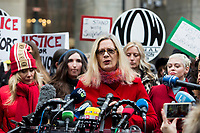 NEW YORK, NEW YORK - JANUARY 6: Actress Louise Godbold, center, speaks with members of the media after Harvey Weinstein arrives at the Manhattan courthouse. On January 6, 2020 in New York City. Weinstein pleaded not guilty to five counts of rape and faces a possible life sentence in prison. (Photo by Pablo Monsalve / VIEWpress)