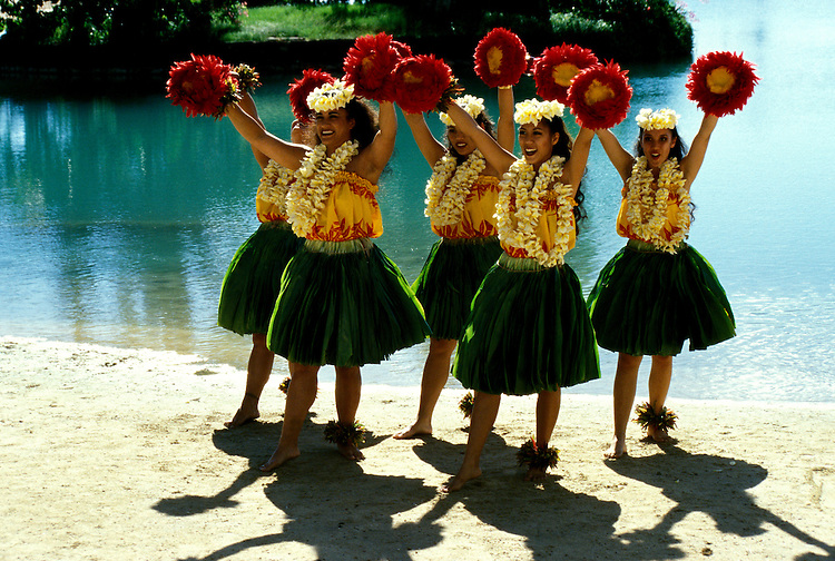 Hawaii: Oahu, Hula dancers, model released. Photo: hiorig104 .Photo copyright Lee Foster, www.fostertravel.com, 510/549-2202, lee@fostertravel.com