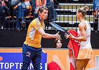 Den Bosch, The Netherlands, Februari 9, 2019,  Maaspoort , FedCup  Netherlands - Canada, second match : Arantxa Rus  (NED) and captain Paul Haarhuis<br /> Photo: Tennisimages/Henk Koster