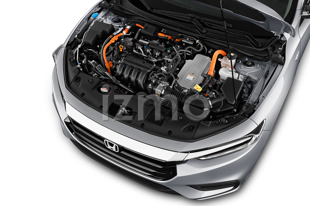Car stock 2020 Honda Insight Touring 5 Door Hatchback engine high angle detail view