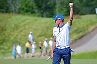 Tyler Light (USA) raises his fist in the air after draining a 66 foot birdie putt on 6 during Saturday's round 3 of the 117th U.S. Open, at Erin Hills, Erin, Wisconsin. 6/17/2017.<br /> Picture: Golffile | Ken Murray<br /> <br /> <br /> All photo usage must carry mandatory copyright credit (&copy; Golffile | Ken Murray)