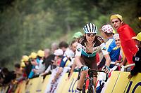Romain Bardet (FRA/AG2R-La Mondiale) up the gravel section in the final stretch to the finish line up La Planche des Belles Filles<br /> <br /> Stage 6: Mulhouse to La Planche des Belles Filles (157km)<br /> 106th Tour de France 2019 (2.UWT)<br /> <br /> ©kramon