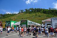 Jun. 17, 2011; Bristol, TN, USA: Fans surround the pit of NHRA funny car driver John Force during qualifying for the Thunder Valley Nationals at Bristol Dragway. Mandatory Credit: Mark J. Rebilas-