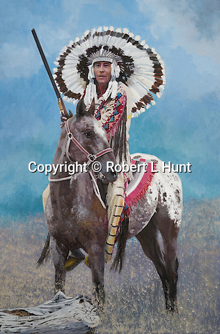 "Native American Sioux chief in traditional feather warbonnet headress, mounted on his Appaloosa horse. Title: ""Celebration Day"", oil on canvas, 30"" x 20""."