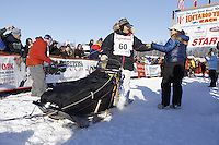Sunday, March 4, 2012  Rick Swenson and his partner Kelly Williams at the restart of Iditarod 2012 in Willow, Alaska.