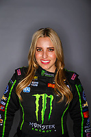 Feb 7, 2018; Pomona, CA, USA; NHRA top fuel driver Brittany Force poses for a portrait during media day at Auto Club Raceway at Pomona. Mandatory Credit: Mark J. Rebilas-USA TODAY Sports
