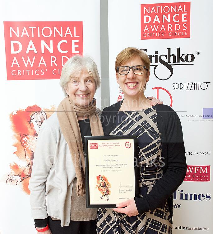The Critics' Circle National Dance Awards 2016 <br /> at the Lilian Baylis Studio, Sadler's Wells, London, Great Britain <br /> <br /> 6th February 2017 <br /> <br /> Ballet Cymru <br /> <br /> Photograph by Elliott Franks <br /> Image licensed to Elliott Franks Photography Services