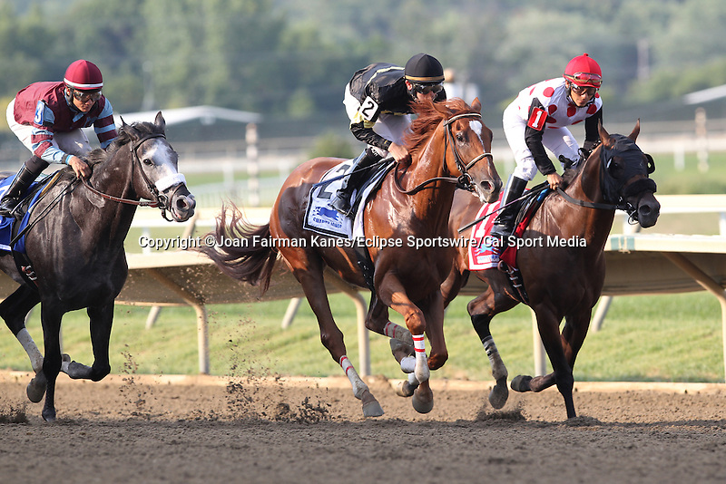 August 29, 2015. Start of the Smarty Jones Stakes, ne mile and seventy yards, for three year olds: from left, Battle Midway, Elvis Trujillo up; Island Town,  Brian Hernandez up, and Souper Colossal, Paco Lopez up. Parx racing in Bensalem, PA.  (Joan Fairman Kanes/ESW/CSM)