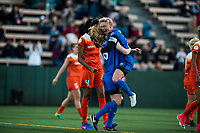 Seattle, WA - Saturday April 22, 2017: Jess Fishlock and Kristen McNabb during a regular season National Women's Soccer League (NWSL) match between the Seattle Reign FC and the Houston Dash at Memorial Stadium.