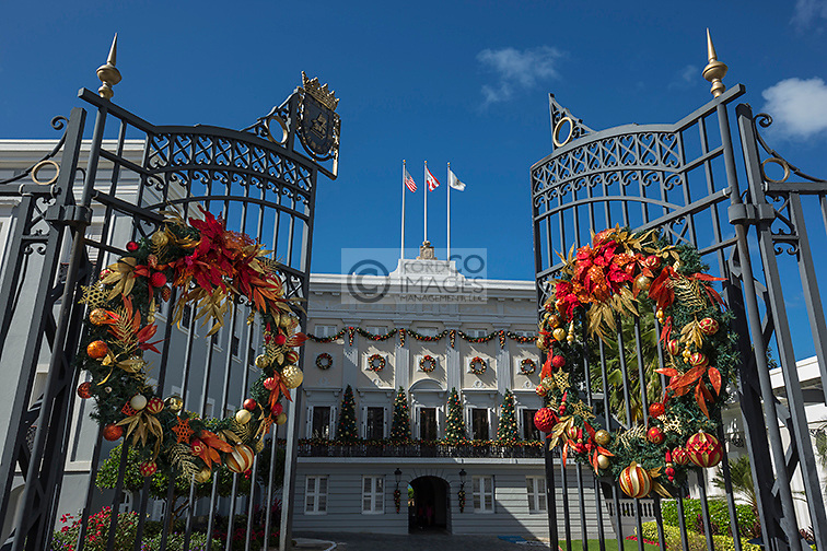 CHRISTMAS WREATHS OPEN ENTRANCE GATE GOVERNORS MANSION LA FORTELEZA OLD TOWN SAN JUAN PUERTO RICO