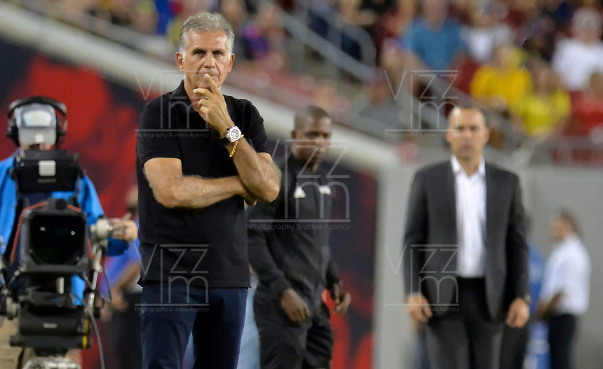 TAMPA - ESTADOS UNIDOS, 10-09-2019: Carlos Queiroz técnico de Colombia gesticula durante partido amistoso amistoso entre Colombia y Venezuela jugado en el Raymond James Stadium en Tampa, Estados Unidos. / Carlos Queiroz coach of Colombia gestures during a friendly match between Colombia and Venezuela played at Raymond James Stadium in Tampa, Estados Unidos. Photo: VizzorImage / Cristian Alvarez / Cont