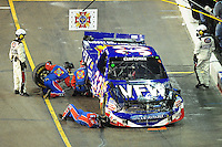 Nov. 7, 2008; Avondale, AZ, USA; Nascar Craftsman Truck Series driver Ron Hornaday Jr pits after crashing during the Lucas Oil 150 at Phoenix International Raceway. Mandatory Credit: Mark J. Rebilas-