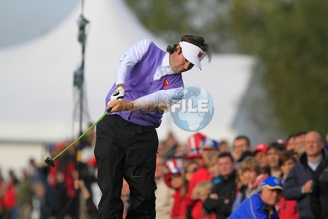Bubba Watson plays from the rough on the 14th hole in the Day 2 session of the overnight Fourball Match 4 during Day 1 of the The 2010 Ryder Cup at the Celtic Manor, Newport, Wales, 29th September 2010..(Picture Eoin Clarke/www.golffile.ie)