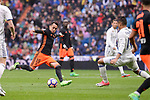 Real Madrid's Carlos Henrique Casemiro and Valencia CF's Fabian Orellana during La Liga match between Real Madrid and Valencia CF at Santiago Bernabeu Stadium in Madrid, April 29, 2017. Spain.<br /> (ALTERPHOTOS/BorjaB.Hojas)