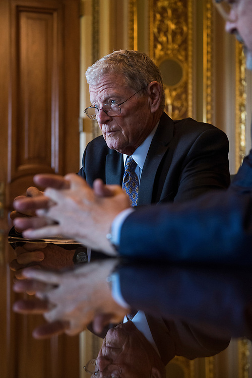 UNITED STATES - JULY 10: Sen. James Inhofe, R-Okla., is seen after the Senate Policy luncheons in the Capitol on July 10, 2018. (Photo By Tom Williams/CQ Roll Call)