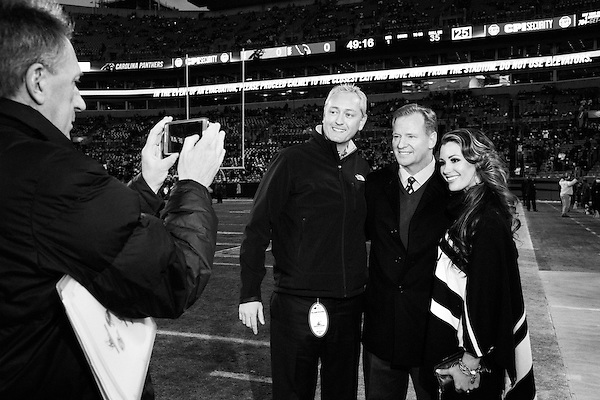 January 24, 2016. Charlotte, North Carolina.<br /> <br /> Roger Goodell, the Commissioner of the National Football League (NFL), walks the sidelines before the NFC Championship game between the Arizona Cardinals and the Carolina Panthers at Bank of America Stadium.