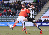 Paddy McCourt of Luton Town beats Jordan Houghton to the ball during the Sky Bet League 2 match between Plymouth Argyle and Luton Town at Home Park, Plymouth, England on 19 March 2016. Photo by Liam Smith.