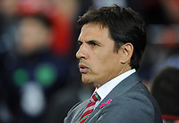 Wales manager Chris Coleman prior to kick off <br /> <br /> Photographer Ian Cook/CameraSport<br /> <br /> FIFA World Cup Qualifying - European Region - Group D - Wales v Republic of Ireland - Monday 9th October 2017 - Cardiff City Stadium - Cardiff<br /> <br /> World Copyright &copy; 2017 CameraSport. All rights reserved. 43 Linden Ave. Countesthorpe. Leicester. England. LE8 5PG - Tel: +44 (0) 116 277 4147 - admin@camerasport.com - www.camerasport.com