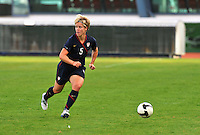 USA's Lori Lindsey surveys her options to attack Iceland.  The USWNT defeated Iceland (2-0) at Vila Real Sto. Antonio in their opener of the 2010 Algarve Cup on February 24, 2010.