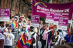 © Joel Goodman - 07973 332324 . 24 August 2013 . Manchester , UK . Broken Rainbow UK . 2013 Gay Pride Parade through Manchester City Centre . This year's theme is 1980s . Photo credit : Joel Goodman