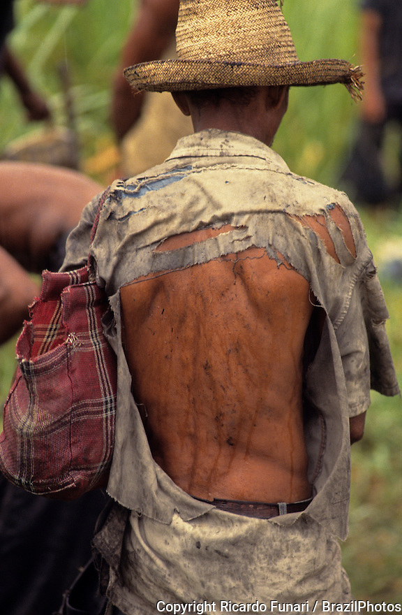 Portrait of sugarcane cutter in Bahia State, Brazil - exploitation of work.