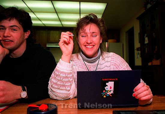 Christina Nelson and her then boyfriend &quot;Dave?&quot; playing Scattergories at home, March 1991.&amp;#xA;<br />