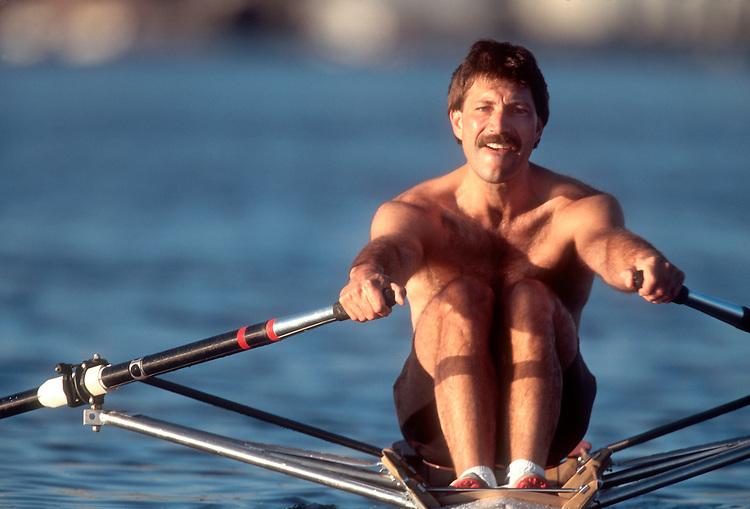 Rowing, Male rower in single racing shell, Seattle, Washington, John Holtman, Lake Washington Rowing Club,.
