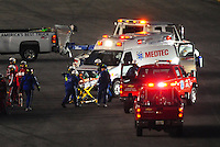 Feb 7, 2009; Daytona Beach, FL, USA; ARCA RE/MAX Series driver Patrick Sheltra is taken away on a stretcher after being cut out of his car following a crash during the Lucas Oil Slick Mist 200 at Daytona International Speedway. Mandatory Credit: Mark J. Rebilas-