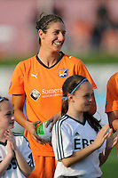 Yael Averbuch (13) of Sky Blue FC during pre-game introductions. Sky Blue FC defeated the Chicago Red Stars 1-0 in a Women's Professional Soccer (WPS) match at Yurcak Field in Piscataway, NJ, on April 11, 2010.