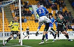St Johnstone v Hibernian...26.11.11   SPL .Marcus Haber heads the ball past Graham Stack to make it 2-1.Picture by Graeme Hart..Copyright Perthshire Picture Agency.Tel: 01738 623350  Mobile: 07990 594431
