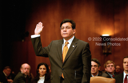 Washington, D.C. - January 18, 2007 -- United States Attorney General Alberto Gonzales gives testimony before the U.S. Senate Judiciary Committee in Washington, D.C.  on Thursday, January 18, 2007..Credit: Ron Sachs / CNP