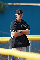 West Virginia Black Bears pitching coach Tom Filer watches over bullpen sessions before a game against the Batavia Muckdogs on June 26, 2017 at Dwyer Stadium in Batavia, New York.  Batavia defeated West Virginia 1-0 in ten innings.  (Mike Janes/Four Seam Images)
