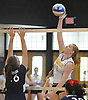 Wantagh No. 16 Nicole Hilton attempts to make a spike during a Nassau County varsity girls' volleyball match against South Side at Wantagh High School on Friday, October 23 2015. Wantagh won 25-15, 25-17, 28-26.<br /> <br /> James Escher