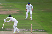 Jake Libby of Nottinghamshire is bowled by Jamie Porter during Nottinghamshire CCC vs Essex CCC, Specsavers County Championship Division 1 Cricket at Trent Bridge on 10th September 2018