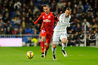 Real Madrid´s Jese Rodriguez and Sevilla's Aleix Vidal during 2014-15 La Liga match between Real Madrid and Sevilla at Santiago Bernabeu stadium in Alcorcon, Madrid, Spain. February 04, 2015. (ALTERPHOTOS/Luis Fernandez) /NORTEphoto.com