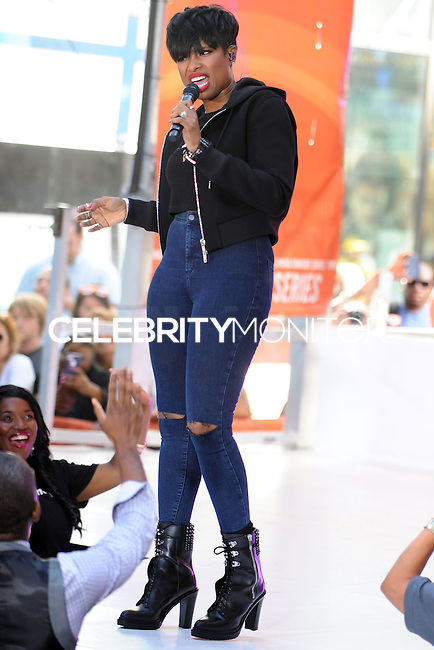 NEW YORK CITY, NY, USA - AUGUST 19: Singer Jennifer Hudson performs on NBC's 'Today' at Rockefeller Plaza on August 19, 2014 in New York City, New York, United States. (Photo by Celebrity Monitor)