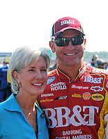 Sept. 27, 2008; Kansas City, KS, USA; NASCAR Nationwide Series driver Clint Bowyer (right) with Kansas governor Kathleen Sebelius prior to the Kansas Lottery 300 at Kansas Speedway. Mandatory Credit: Mark J. Rebilas-