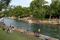Barton Springs Swimming Pool - Zilker Park natural limestone spring pool - Stock Photo Image Gallery