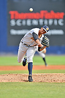 Charleston RiverDogs starting pitcher Luis Medina (30) delivers a pitch during game one of a double header against the Asheville Tourists at McCormick Field on April 9, 2019 in Asheville, North Carolina. The Tourists defeated the RiverDogs 17-3. (Tony Farlow/Four Seam Images)