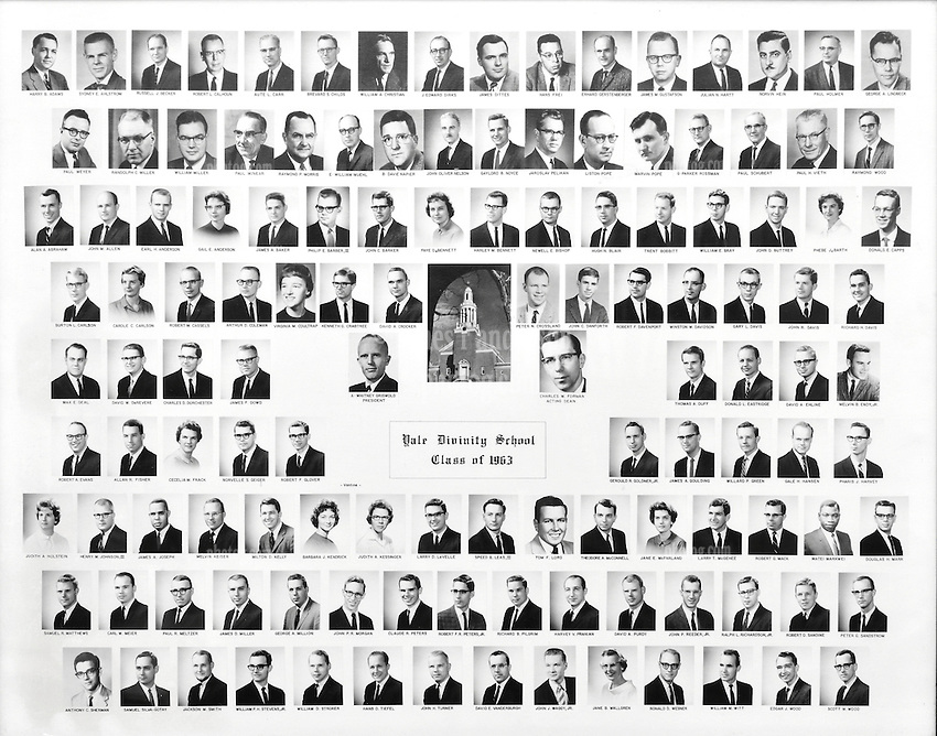 1963 Yale Divinity School Senior Portrait Class Group Photograph