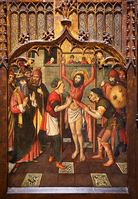 Gothic Altarpiece of, left to right, the martydom of St Bartholomew, Calvaty and the deat of St Mary Magdelene, by Jaume Huguet, Barcelona circa 11465-1480, tempera and gold leaf on for wood, from the church of San Marti de Petegas de san Seloni, Valle Oriental, Spain.  National Museum of Catalan Art, Barcelona, Spain, inv no: MNAC   24365.
