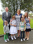 Megan O'Connor Who received first holy communion in St Cianan's church Duleek with her family.<br /> <br /> Photo-Jenny Matthews
