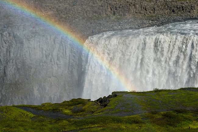 Rainbow at the Dettifoss, a waterfall in Vatnajökull National Park in Northeast Iceland, is one of the most powerful waterfalls in Europe.
