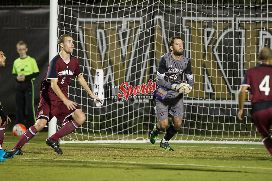 William Pyle (25) of the South Carolina Gamecocks defends his goal during first half action against the Wake Forest Demon Deacons at Spry Soccer Stadium on October 6, 2015 in Winston-Salem, North Carolina.  The Demon Deacons defeated the Gamecocks 2-0.  (Brian Westerholt/Sports On Film)